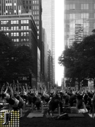 Yoga class at Bryant Park