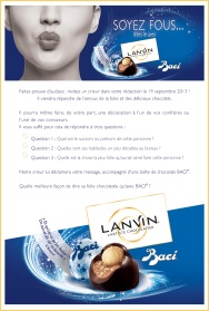 Invitation journalistes, Lanvin Baci