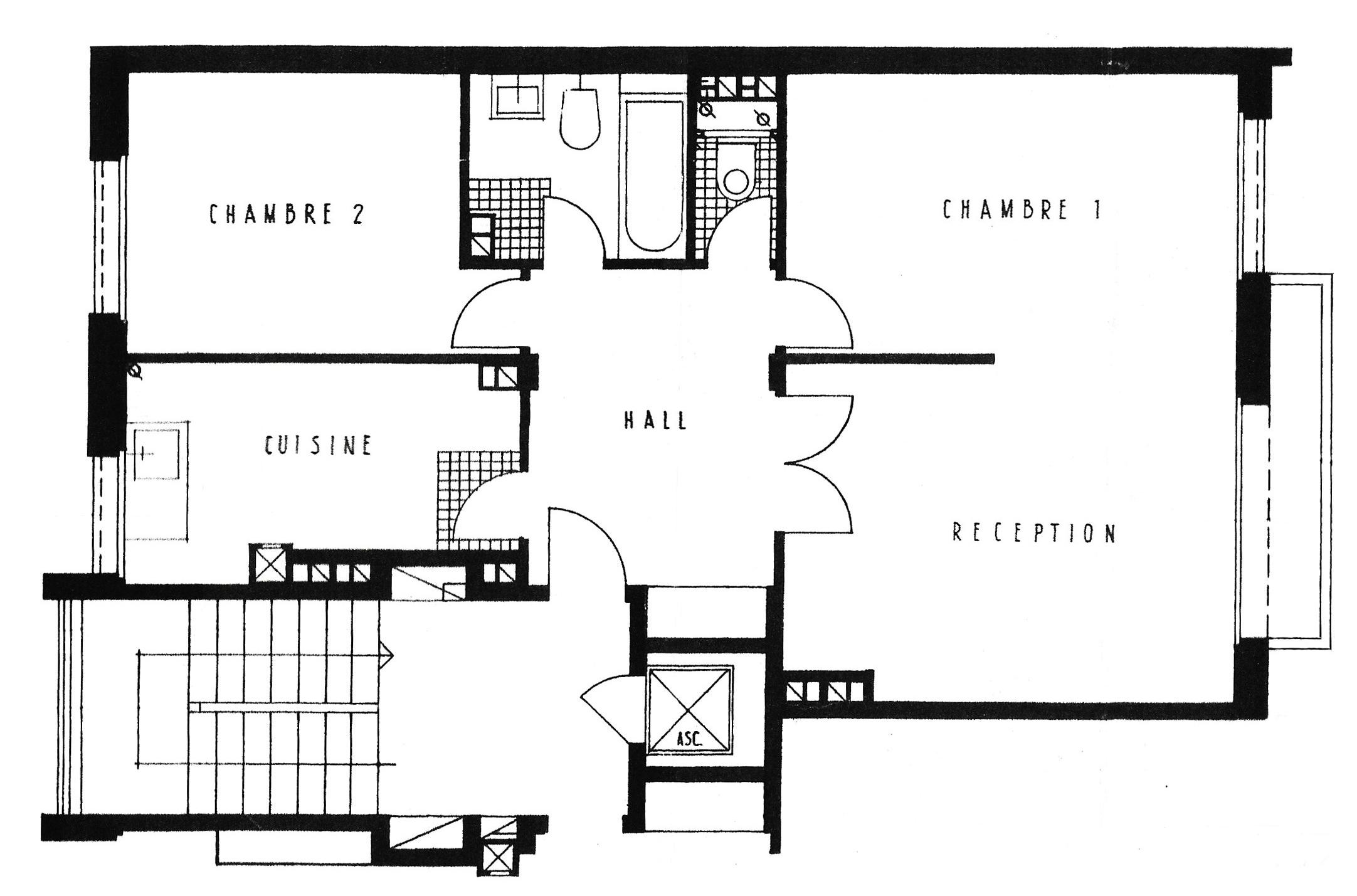 plan appartement parisien. Black Bedroom Furniture Sets. Home Design Ideas